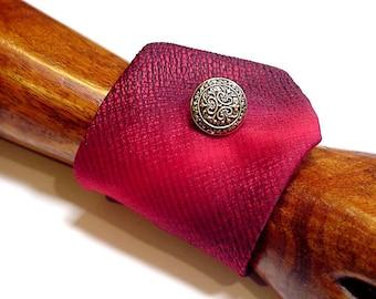 Red Necktie Wrist Cuff, Silk Wide Neck Tie Bracelet, Eco Chic/Original Handmade Upcycled Mens Tie Wristband itsyourcountry