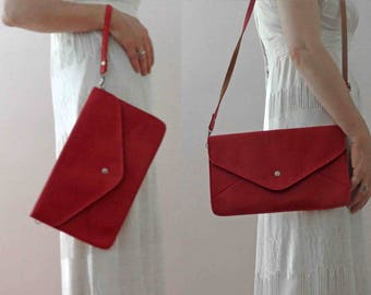 Vintage 70s Red Satchel Shoulder Bag Clutch Vegan Vinyl Small
