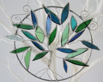 Stained Glass Tree of Life Suncatcher Blue & Green Glass