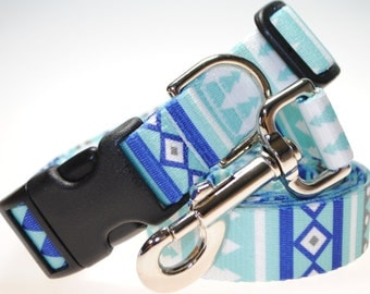 """Winter Pines Collar and Leash Combination - 1"""" Width"""