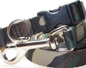 """Camouflage - Collar and Leash Combination - 5/8"""" Width"""