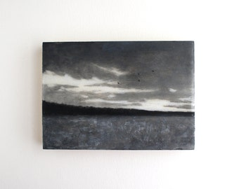 Black and White Sunset Painting - 5 x 7