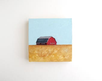 Red Barn Mixed Media Painting - 5 x 5