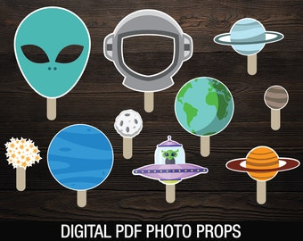 Space Photobooth Props Printable // Party Photo Props // Astronaut Outer Space