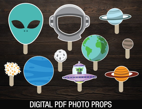 Space Photobooth Props Printable // Party Photo Props