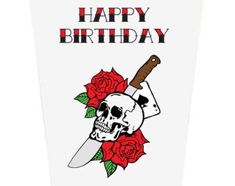 Tattoo Style Skull and Sword Birthday Card
