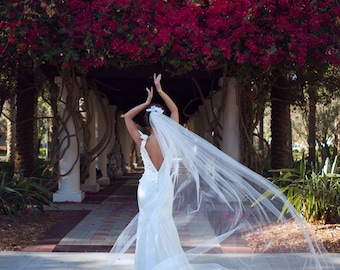 Silk Wedding Gown with 3-D Lace Appliques