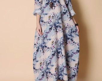 Loose Stand up collar Maxi Dress womens long sleeved dress
