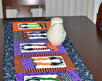 Halloween Table Runner - Witch's Legs and Shoes Glow in the Dark Halloween Quilted Table Runner