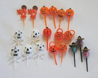 Vintage Halloween Cupcake Plastic Picks