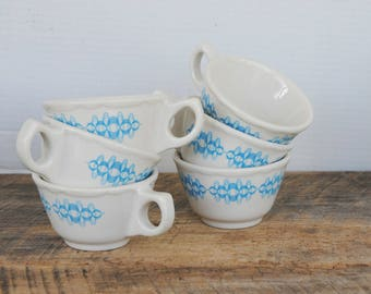 Vintage Buffalo China Coffee Tea Cups Blue Colonnade Pattern Set of 6