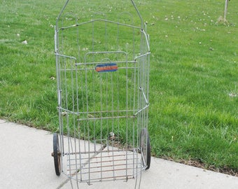 Vintage Wire Laundry Shopping Cart Dennis Miller Industries Pres - Toe