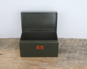 Vintage Weis File Index Box Dark Green for 5x3 Cards