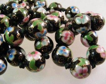 Vintage Chinese Black Cloisonne Bead Necklace...  Lot 5069