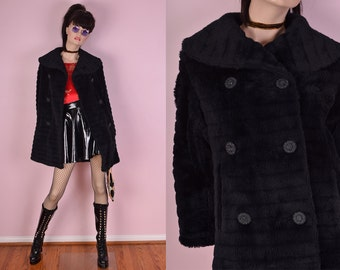 60s Black Striped Faux Fur Pea Coat/ Small/ 1960s/ Jacket