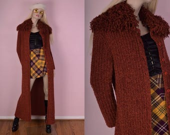 90s Shaggy Collar Ribbed Knit Duster/ XL/ 1990s/ Cardigan/ Jacket/ Coat