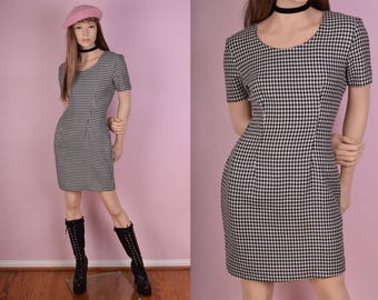 90s Black and White Houndstooth Dress/ US 7-8/ 1990s