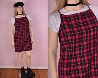 90s Pink and Black Plaid Dress/ XL/ 1990s/ Tank/ Sleeveless