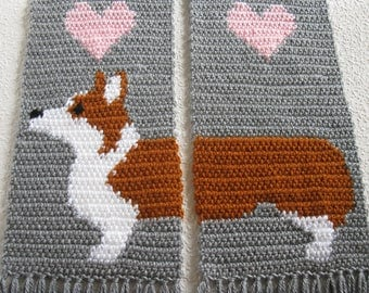 Corgi Scarf.  Grey knitted and crochet scarf with Welsh corgi dogs.  Scarves with Pembroke welsh corgis and pink hearts.