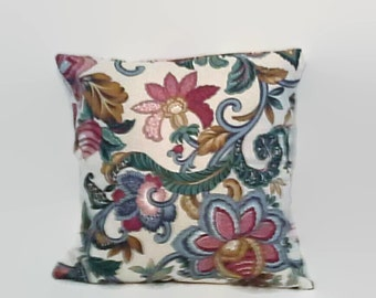 Jacobian Print Floral Pillow Cover 18 Inch Square Upcycled 18 X 18