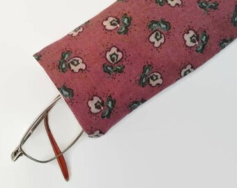 Pretty Flowered Brown Upcycled Eyeglass Case Sunglasses Holder
