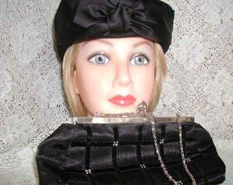 I am ready to go out with this Vintage Black Felt Hat and Satin Purse