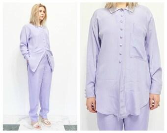 90s Lavender Pant Suit / Button Down Two Piece Outfit