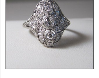 Antique Art Deco Platinum Diamond Large Knuckle Filigree Engagement Ring