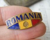 "Vintage enamel badge,pin. ''Romania""."