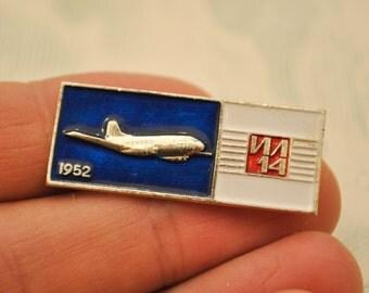 "Vintage Soviet Russian badge,pin.""Soviet Russian Aircraft IL-14"""