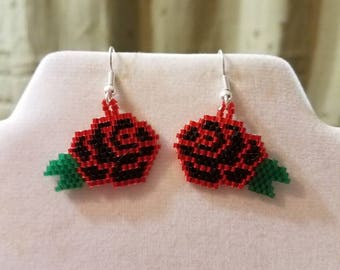 Beautiful Native American Style Beaded Black and Red Rose Flower Earrings Fringe Southwestern, Boho, Peyote Brick Stitch Ready to Ship