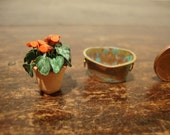 RESERVED FOR tracialexander Miniature for dollhouse copper tub with cyclamen plant