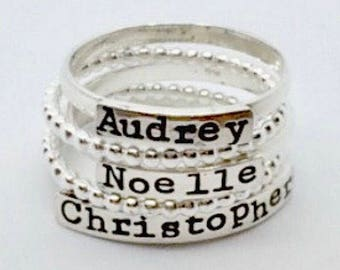 Stackable Name Ring - Hand Stamped Mothers Ring - Personalized Rings - Mother's Day - The Charmed Wife - Gift for Her - Mother's Day - Mom