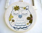 Embroidery Pattern PDF Flower Power Owl