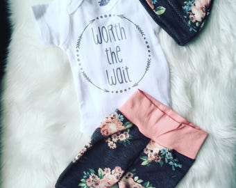 Newborn Baby coming home outfit / gray and pink floral / going home set/ worth the wait /coming home from the hospital /new baby outfit