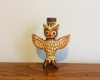 Vintage Owl Mexican Folk Art Candleholder Candle Holder  / Handpainted Bird Decor