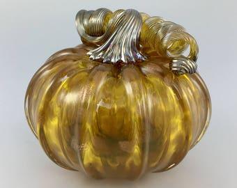 """4.5"""" Glass Pumpkin by Jonathan Winfisky - Rose Gold Glimmer Series - Gold Topaz - Hand Blown Glass"""
