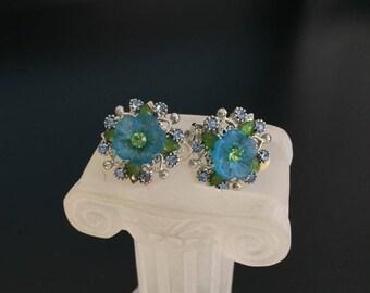 Earrings blue floral daisy MCM vintage rhinestones clip on earrings jewelry bargain 1950s 1960s silver tone