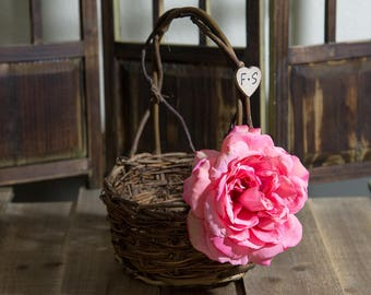 Small Rustic twig flower girl basket decorated with a dark pink rose personalized with bride and groom initials other flowers to select from