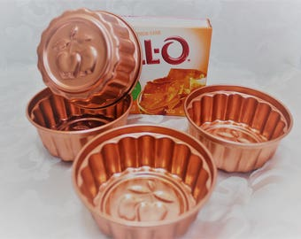 Copper Molds - Jello Molds - Apple Design - Set of Four