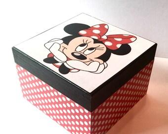 Minnie Mouse Box keepsake box Red Black and white box trinket box