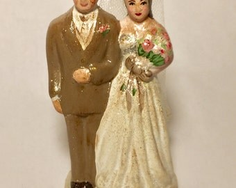 Vintage Reproduction Wedding Cake Topper Bride and Groom