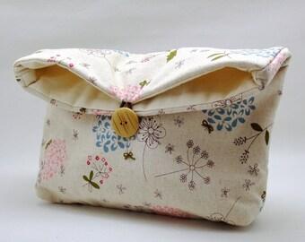Foldover clutch, Fold over bag, clutch purse, evening clutch, wedding purse, bridesmaid gifts - Dandelion (Ref. FC5 )