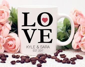 Love Mug, Name Mug, Engagement Mug, Newlywed Mug, Personalized Mug, Housewarming Gift, Coffee Mug, Coffee Lover