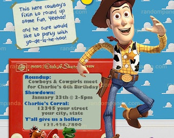 Toy Story Invitation, Woody Cowboy, Roundup Party Invite