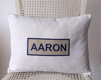 Custom Decorative pillow cover with appliqué name sign. Throw pillow.