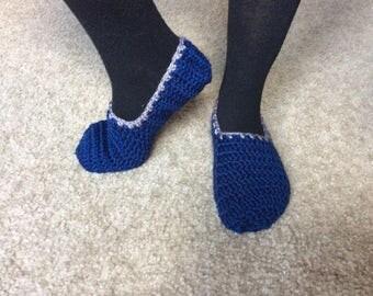 Crochet handmade navy blue slippers, woman house slippers, blue and gray, blue crochet slippers