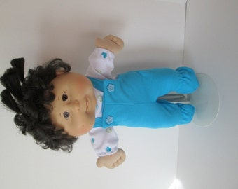 "14"" Baby Cabbage Patch Aqua Footed Bib Overall Set with Heart Print Shirt"