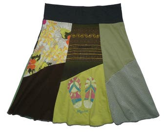 Recycled Skirt Women's Medium Hippie Skirt Boho Chic Midi Skirt Eco Clothing Upcycled Clothing T-Shirt Skirt Twinkle Skirts from Twinklewear