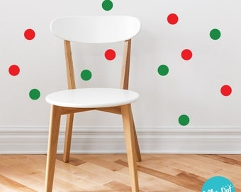 Red And Green Christmas Confetti Polka Dot Wall Decals   CONF023 Part 63